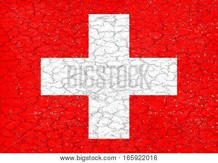 Grunge Style Switzerland National Flag