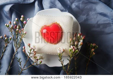Delightful, Luxury Mousse Cake In The Form Heart. Valentine's Da