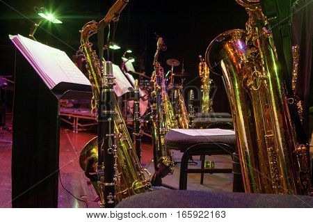 The instruments found in the wind section of a traditional big band with a frame dominated by saxophones and clarinets.
