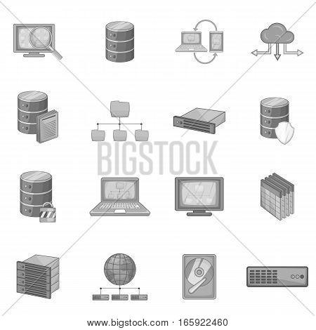Data base icons set in monochrome style isolated on white background