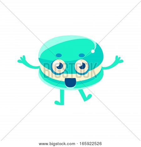 Double Blue Cookie With Cream Filling, Sweet Dessert Pastry Childish Cartoon Character. Isolated Vector Illustration With Humanized Kids Party Bakery Food With Happy Face.