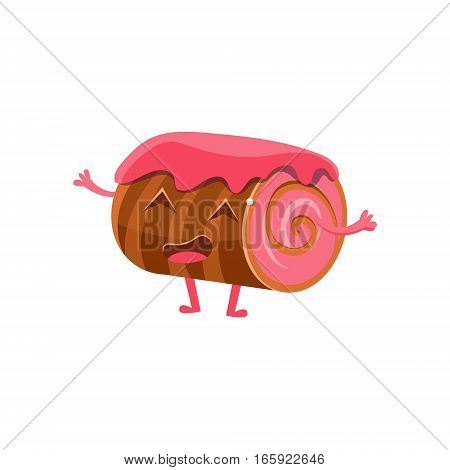 Chocolate Biscuit Roll With Strawberry Jam, Sweet Dessert Pastry Childish Cartoon Character. Isolated Vector Illustration With Humanized Kids Party Bakery Food With Happy Face.