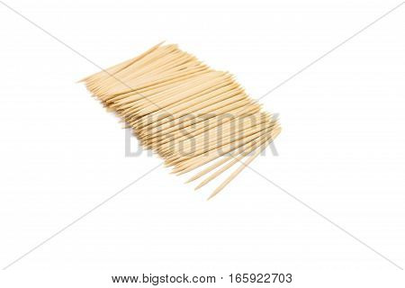 the wooden toothpicks isolated on white background