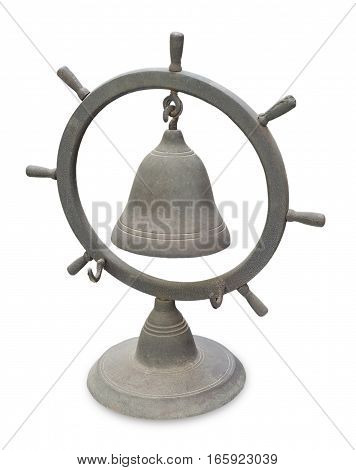 Decorative Old Brass Helm or Steering Ship Wheel Bell for Dinner Table Desk Service and Reception Isolated on A White Background.