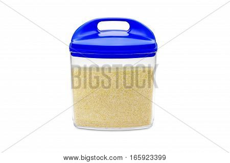 container with semolina isolated on white background