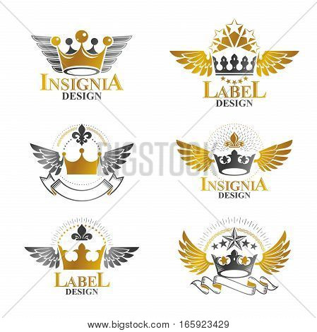 Royal Crowns Emblems Set. Heraldic Vector Design Elements Collection. Retro Style Label, Heraldry Lo