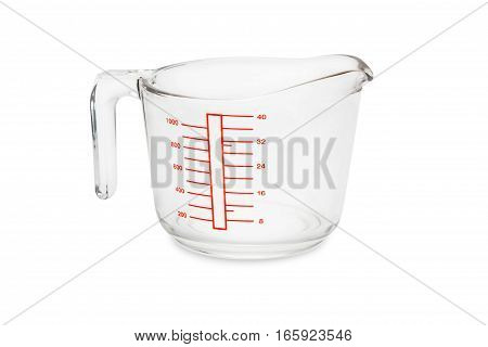 glass measuring bowl isolated on white background