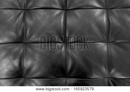Background Pattern Closed Up of Abstract Texture of Luxury Black Leather Sofa or Upholstery.