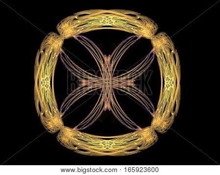 3D Rendering With Yellow Abstract Fractal Pattern