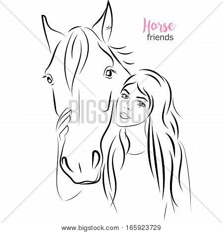 Vector beautiful woman touches the horse muzzle with care and love. thin line style illustration, hand drawn sketch image. Poster, banner, print, advertisement design element