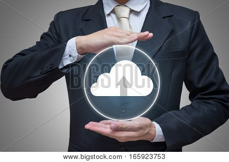 Businessman standing posture hand holding cloud computing network isolated on gray background
