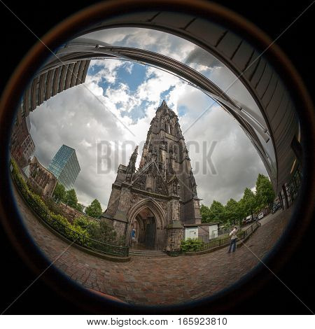 Fish eye capture of the remains of St. Nicholas' Church Hamburg. After extensive bombing damage during World War II only the spire remained intact and now serves as a memorial.