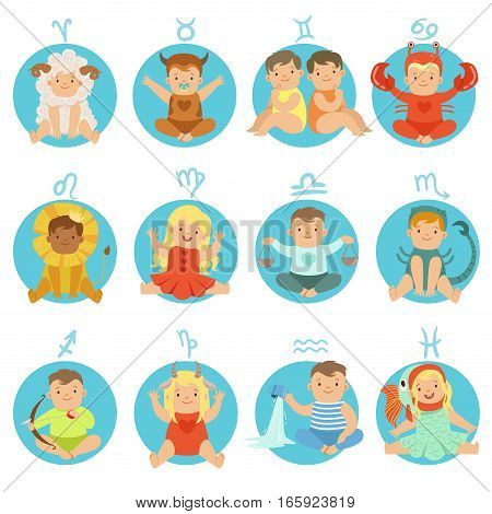 Babies In Twelve Zodiac Signs Costumes Sitting And Smiling Dressed As Horoscope Symbols. Adorable Toddlers Flat Vector Illustrations For Astrological Stickers.