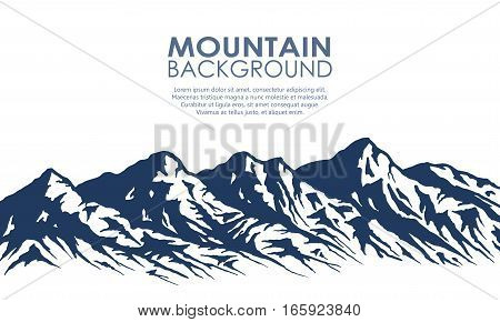Mountain range silhouette isolated on white background. Blue vector illustration with copy-space.