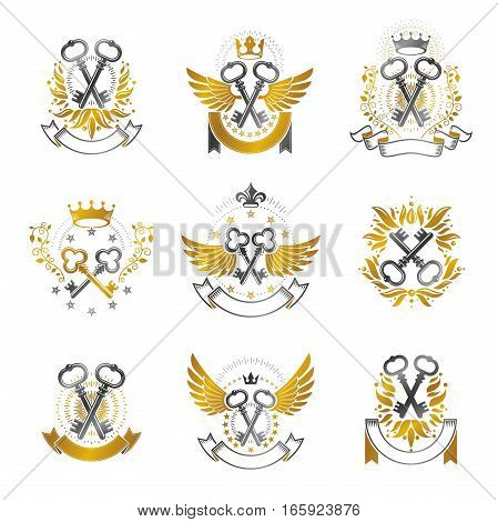 Old Turnkey Keys Emblems Set. Heraldic Vector Design Elements Collection. Retro Style Label, Heraldr