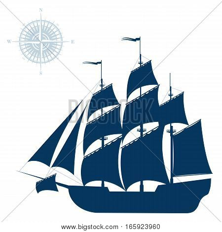 Large sailing ship. Detail vector illustration isolated on white background.