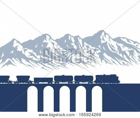 Freight Train on bridge over mountain background isolated on white. Detail vector illustration.
