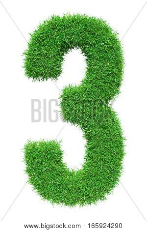 Green grass number 3, isolated on white background. 3D illustration