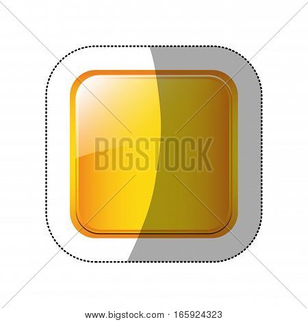 middle shadow sticker in yellow square vector illustration