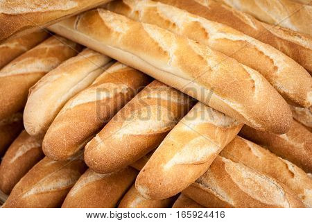 French Baguettes - Full frame background, texture, detail