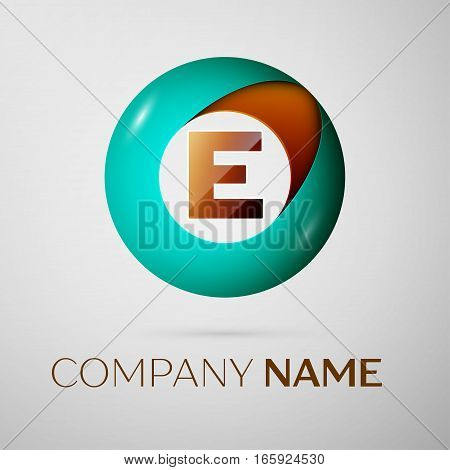 Letter E vector logo symbol in the colorful circle on grey background. Vector template for your design