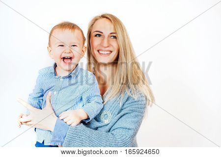 woman with a baby on white background