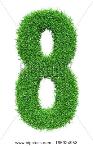 Green grass number 8, isolated on white background. 3D illustration