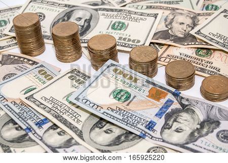 price graph coins and US dollar bills background