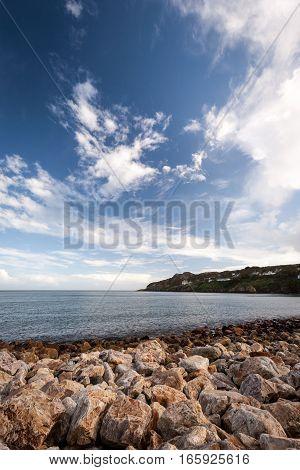 Stone beach onto the Irish sea near Malahide Ireland.