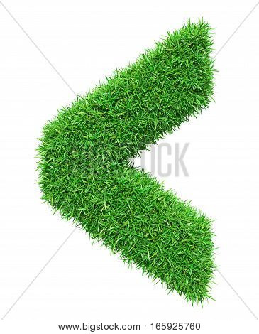 Green grass check mark, isolated on white background. 3D illustration