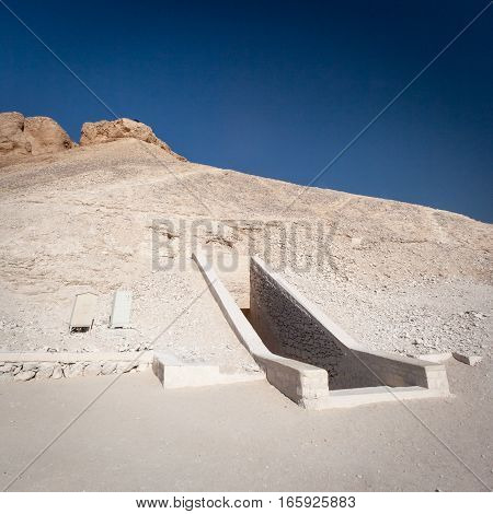 A tomb entrance in the Valley of the Kings near Luxor Egypt.