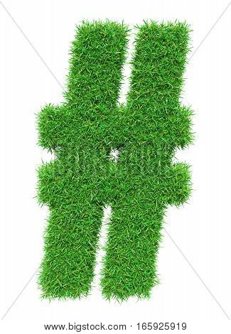 Green grass lattice, isolated on white background. 3D illustration