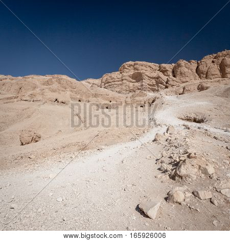 Footpath leading into The Valley of the Kings, Luxor, Egypt