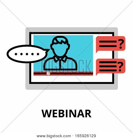 Webinar icon flat thin line vector illustration for graphic and web design