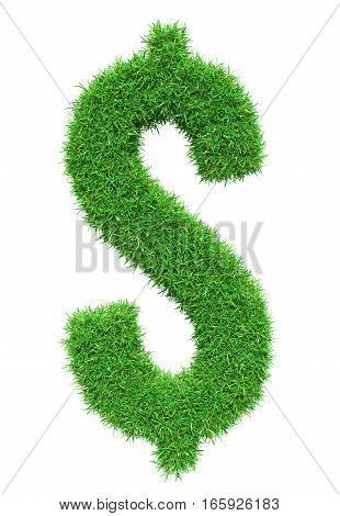 Green grass dollar symbol, isolated on white background. 3D illustration