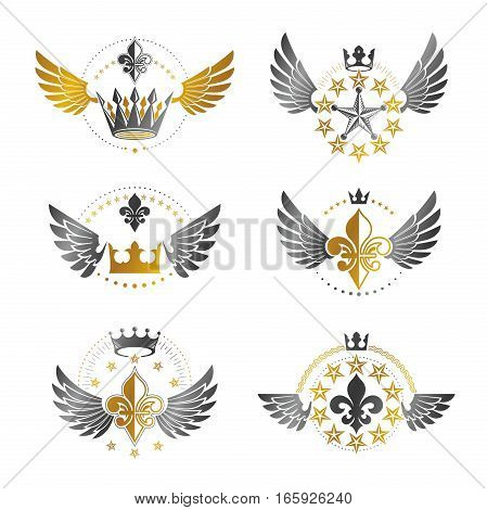 Ancient Crowns And Military Stars Emblems Set. Heraldic Vector Design Elements Collection. Retro Sty