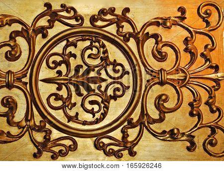 Golden decorative wall, antique ornament, gold decor