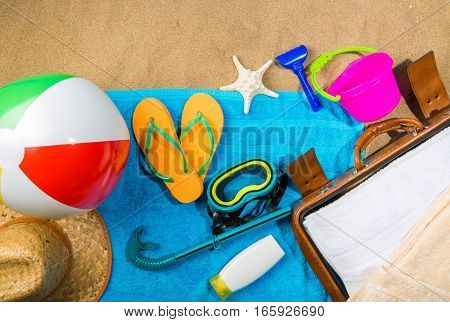 Beach with Ball, Suitcase, Towel, Hat, Flip-Flops, Diving Mask and Suitcase