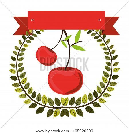 colorful olive crown and label with cherry fruit vector illustration
