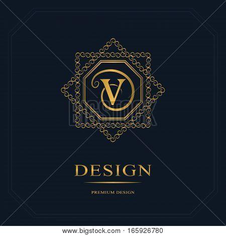 Monogram design elements graceful template. Calligraphic elegant line art logo design. Letter emblem sign V for Royalty business card Boutique Hotel Heraldic Jewelry. Vector illustration poster