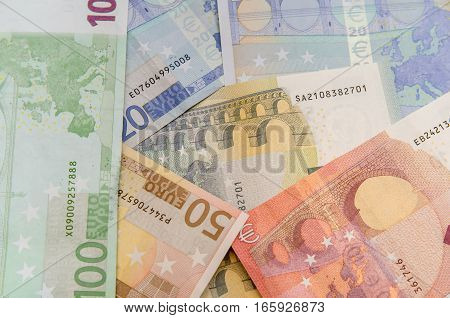 Close up of Euro banknotes as background