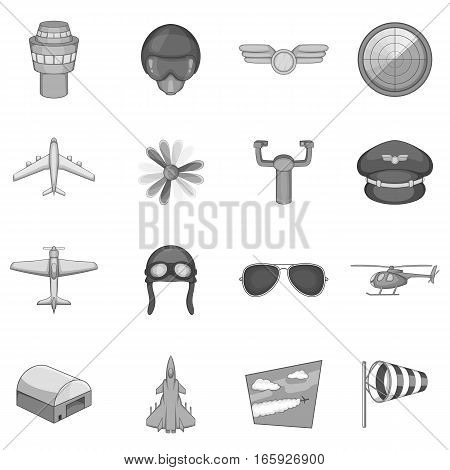 Aviation icons set in monochrome style isolated on white background