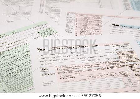 Tax Form 1040 1040a 1040ez close up