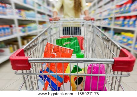 Inside View of Shopping Cart Full of Products in a Supermarket