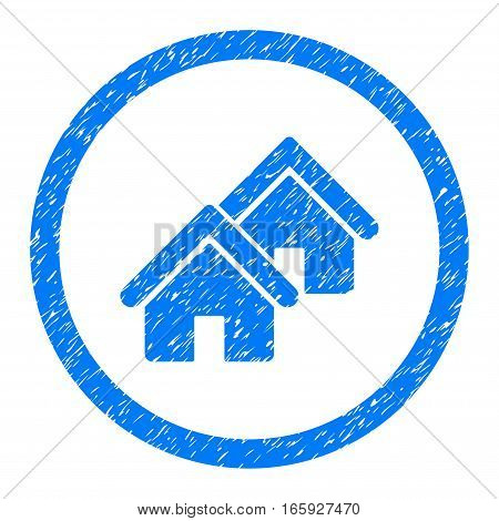 Rounded Realty rubber seal stamp watermark. Icon symbol inside circle with grunge design and dust texture. Unclean vector blue sign.