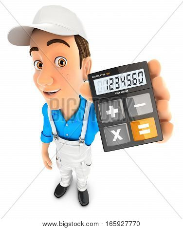 3d painter holding calculator illustration with isolated white background