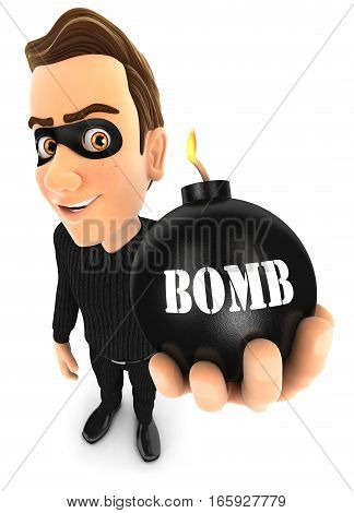 3d thief holding a bomb illustration with isolated white background