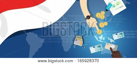 Indonesia economy business financial concept trading money market south east asia map with flag concept