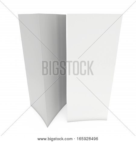 Blank paper triangle tent cards. 3d render illustration isolated. Table cards mock up on white background.