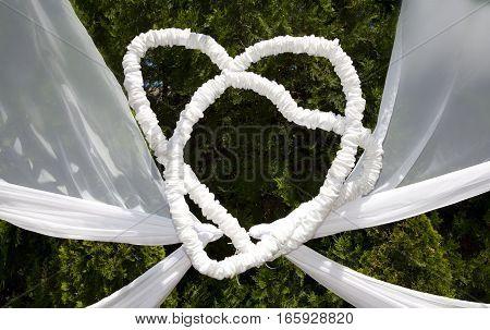 Two krakivi decorative wrought hearts of textiles